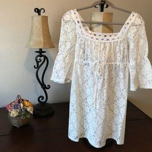 Laundry by Design White eyelet mini dress NWT